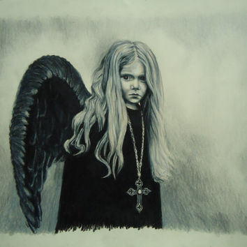 Archangel Remiel - Original artwork - Colored pencil drawing - Angel drawing - Hand made pencil drawing - Original artwork - Home decor