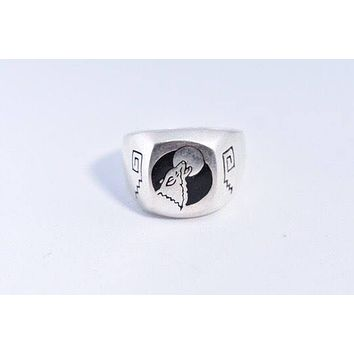 Vintage 1980's Gothic Wolf and Full Moon Men's Ring