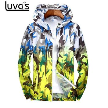 LUVCLS Camouflage Jacket Lovers Men Women Camo Hooded Wind Jacket Jackets Military Canvas Jacket  Anti-sun Clothes Plus Size