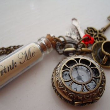 Alice in Wonderland Drink Me Pocket Watch Necklace with Blue Beads