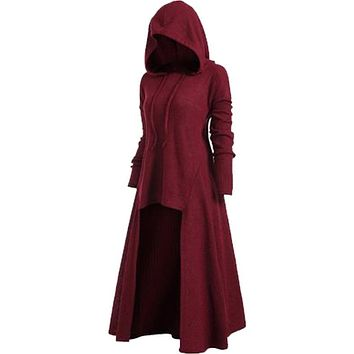 Womens Hooded Plus Size Vintage Gothic Punk Cloak High Low Sweater Blouse Kermesinus
