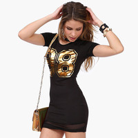 Black 98  Metallic Gold Print Mesh Bodycon Mini Dress