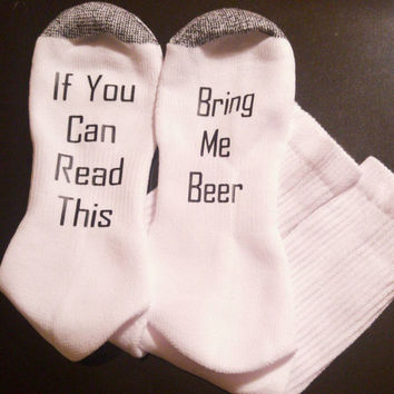 Bring me beer socks - funny men's socks - stocking stuffer for him - bachelor gift - gift for husband - beer socks