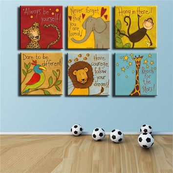 Free Shipping Canvas Painting Oil Painting 6 Pieces/Set Modern Cartoon Animals Wall Pictures Kids Room Wall Decor No Frame