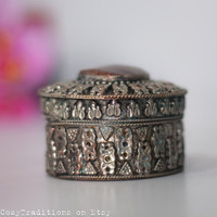 Trinket Jewelry Box: Vintage Metal Round Indian Jewelry Box Decorated with a Stone, Gift for Her