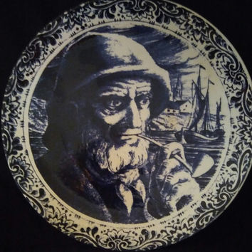 Delft Pipe Smoking Dutch Fisherman Wall Hanging Blue And White Plate