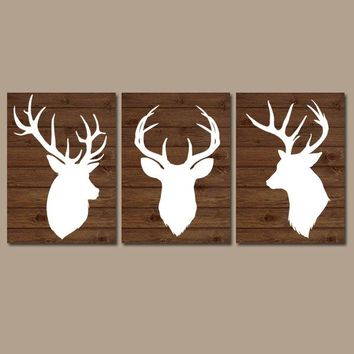 DEER Wall Art, Deer Nursery Decor, Deer CANVAS or Prints, Rustic Nursery Decor, DEER Theme, Deer Head Decor, Deer Wood Pictures, Set of 3
