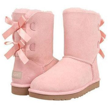 UGG Fashion Winter Women Cute Bowknot Flat Warm Snow Ankle Boots Pink G