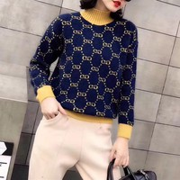 """Gucci"" Women Casual Fashion Multicolor Knit Letter Logo Long Sleeve Turtleneck Pullover Rabbit Hair Sweater Tops"