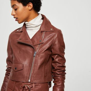 Cropped leather jacket - Women | MANGO USA