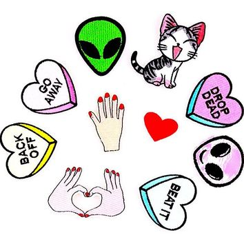Cute Alien Valentine Sweet Heart Go Away Graphic Sew Iron On Fashion Patches 1 Pc