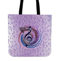 Magical Music Notes Linen Tote Bag