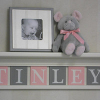 "Name Letters, Name Blocks, PINK GRAY Nursery Decor, Baby Name Signs 24"" Linen White Shelf Custom 6 Name Plaques - TINLEY - Unique Baby Gift"