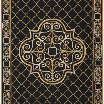Easy Care Transitional Indoorarea Rug Black / Gold