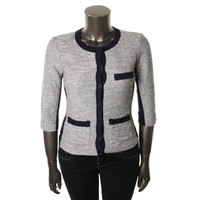 Three Dots Womens Knit Contrast Trim Cardigan Sweater