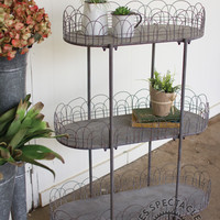 Three Tiered Metal Shelving Display