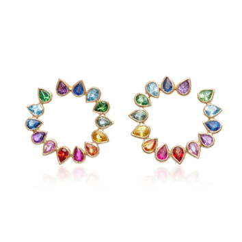 Wrap Around 14K Gold Sapphire Hoop Earrings | Moda Operandi