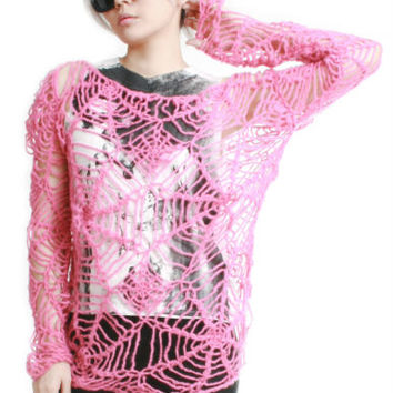 RTBU Kawaii Cutie Punk Cobweb Spider Web Mohair Knitted Crochet Sweater Top Pink