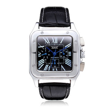 Jaragar Square Roman 3 Dial Week Calendar Leather Mechanical Men Watch