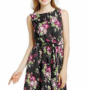 Blooming Jelly Womens Vintage 1950s Scoop Neck Sleeveless Floral Party Swing Cocktail Dress