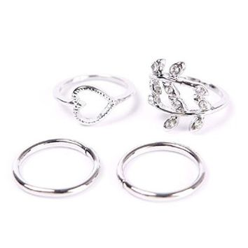 4pcs Fashion New Women Girl Rhinstone Heart Leaves Leaf Circle Knuckle Rings Set Silver