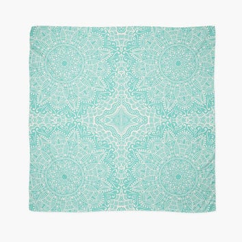 Mandala Scarf Wrap Shawl Mint Green Teal Large Square Scarf 55 Square Inches A Light Chiffon Fabric