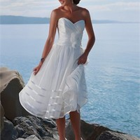 Knee length Strapless sweetheart short Beach Wedding Dresses WDB015