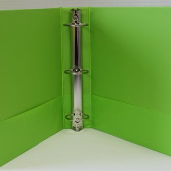 "1.5"""" Basic 3-Ring Binder w/ Two Inside Pockets - Lime Case Pack 12"