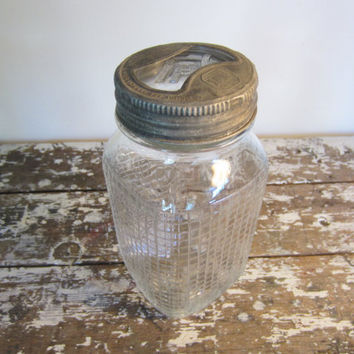 Antique Mason Jar with Grid Pattern Hazel Atlas Glass Cover Glass Jar Canning Jar