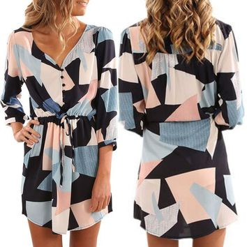 Winter Three-quarter Sleeve Geometric Print Skirt Women's Fashion One Piece Dress [22466428954]
