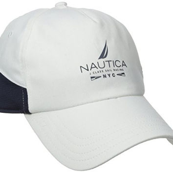 Nautica Men's Stretch Twill Mesh Panel Cap, Bright White, One Size