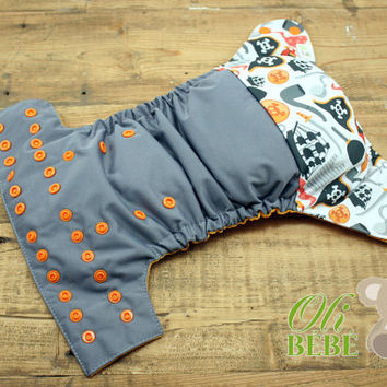 Grey pirate - Cloth Diaper One Size pocket