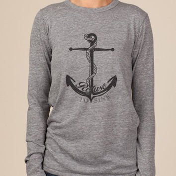 Refuse to Sink Anchor Eco Long Sleeve Shirt in Grey
