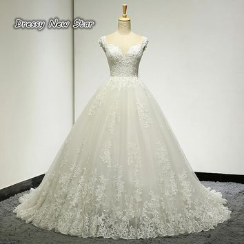 Exquisite Wedding Dress Sweetheart Neck Lace A Line Wedding Gown Tank Sleeves High Quality Bridal Dress