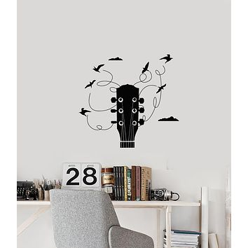 Vinyl Wall Decal Guitar Birds Strings Music Musical Instrument Store Stickers (3698ig)