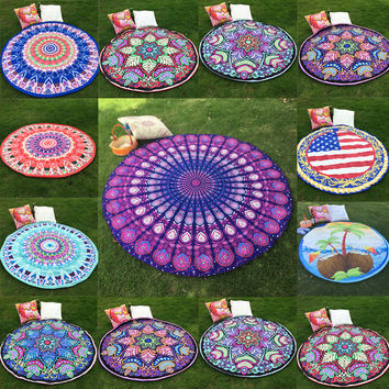 10 Styles Hippie Round Mandala Tapestry Indian Wall Hanging Boho Beach Throw Towel Yoga Mat Home Room Decoration