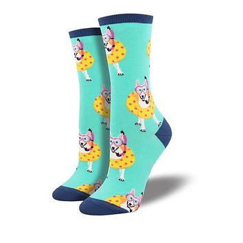 Novelty Socks DOGGY PADDLE MINT Fabric Cotton Crew Snorkel Wnc1520 Mint