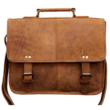 IN-INDIA Vintage Buffalo Leather Messenger Satchel Laptop Briefcase