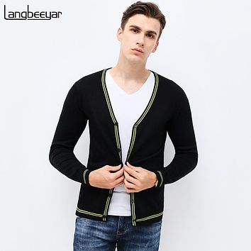 Autumn Winter Fashion Brand Clothing Men's Sweaters V-NeckSlim Fit Mens Cardigan Contrast Color Knitted Sweater Men M-5XL
