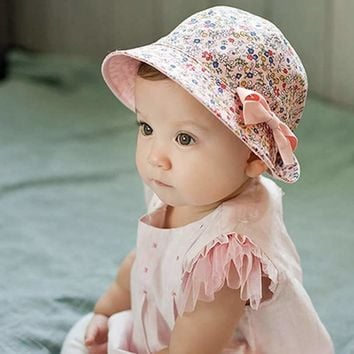 Summer Floral Print Bucket Hat Cotton Baby Cap Double Sided Can Wear Sun Beach Cap for Girl Kids