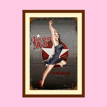 American Girl, Pin Up Art, Pin Up Girl, Metal Wall Decor, Sexy Art, Novelty Print, Metal Wall Art, Teen Room Decor, Woman Art, Woman Cave