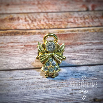 1980s Vintage Gold Toned Guardian Rhinestone Angel Lapel Pin