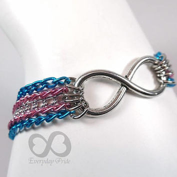 Trans Pride Chain Bracelet with Infinity Symbol Charm