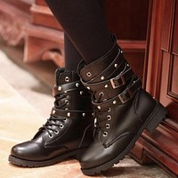 Punk gothic style lace up round toe leather boots