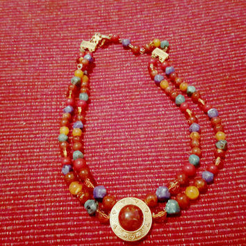 Liz Claiborne Two Strand Multi Colored Bead Fashion Necklace with Gold Tone Medallion Vintage