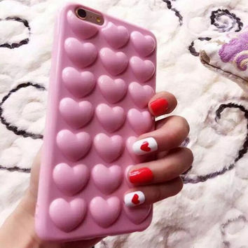 Heart bubble pink phone case for iphone 6 6s 6 plus 6s plus + Nice gift box 072702