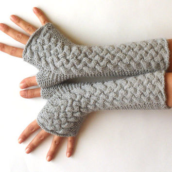 Wool Fingerless Mittens Gray Fingerless Gloves Grey Arm Warmers Warm Women's Hand Warmers Cable Fingerless Gloves MADE TO ORDER - KG0026