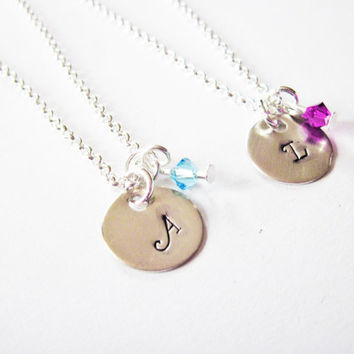 2 best friends necklaces, birthstone necklace,set of two, initial necklace, matching necklaces for couples, personalized jewelry, sisters