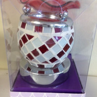 Red and white electric decorative touch lamp, aromatic oil burner,scented oil warmer, wax melter