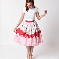 Unique Vintage 1950s Red Velvet Cupcake High Waist Circle Swing Skirt